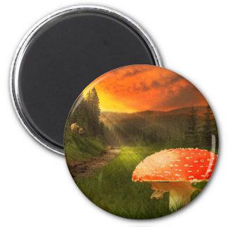 Setting Autumn Sun. 6 Cm Round Magnet