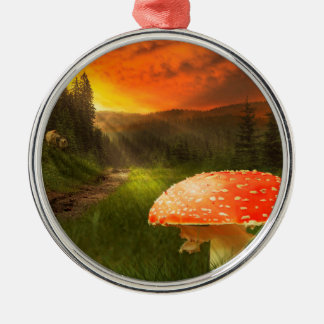 Setting Autumn Sun. Christmas Ornament