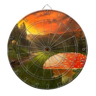 Setting Autumn Sun. Dartboard With Darts