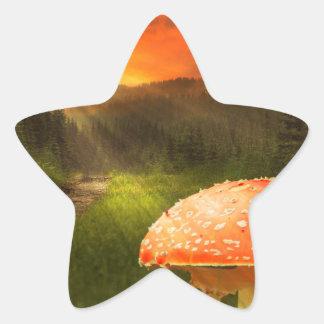 Setting Autumn Sun. Star Sticker