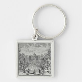 Setting for an opera in a garden, from 'Architectu Silver-Colored Square Key Ring