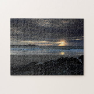 Setting sun at Polzeath Jigsaw Puzzle