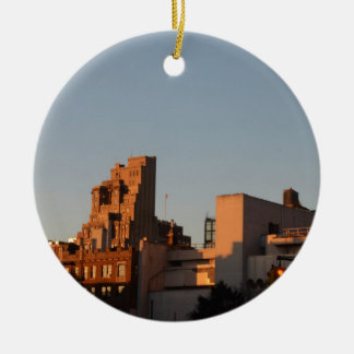 Setting sun illuminates old NYC Christmas Ornament