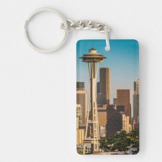 Setting Sunlight On The Space Needle And Seattle Double-Sided Rectangular Acrylic Key Ring
