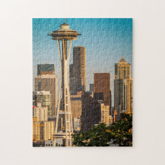 Setting Sunlight On The Space Needle And Seattle Jigsaw Puzzle