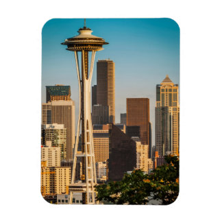 Setting Sunlight On The Space Needle And Seattle Vinyl Magnet