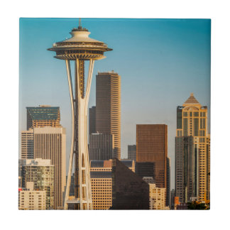 Setting Sunlight On The Space Needle And Seattle Small Square Tile