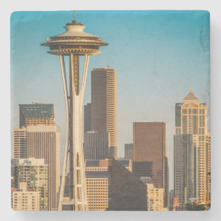 Setting Sunlight On The Space Needle And Seattle Stone Coaster