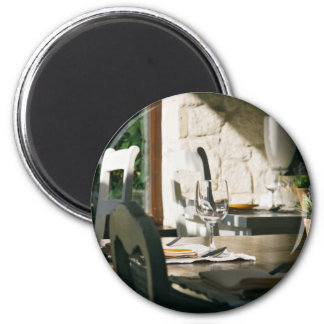 Setting Themed, Table Set For Dinner Or Lunch With 6 Cm Round Magnet