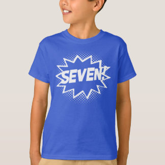 SEVEN! 7th Birthday Gift Superhero Logo T-Shirt
