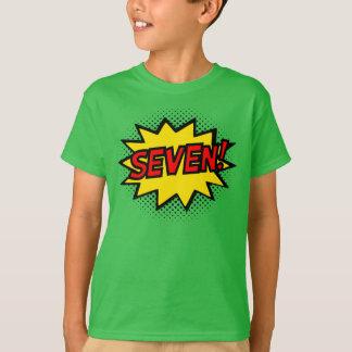 SEVEN! 7th Birthday Gift Superhero Logo T-Shirt
