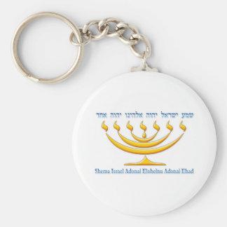 Seven branch menorah of Israel and Shema Israel Basic Round Button Key Ring