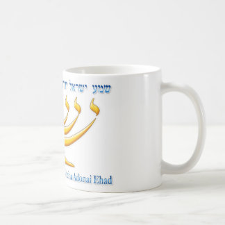 Seven branch menorah of Israel and Shema Israel Basic White Mug