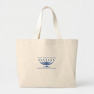 Seven branch menorah of Israel and Shema Israel Jumbo Tote Bag