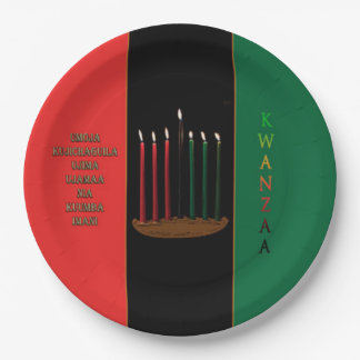 Seven Candles Kwanzaa Party Paper Plates 9 Inch Paper Plate