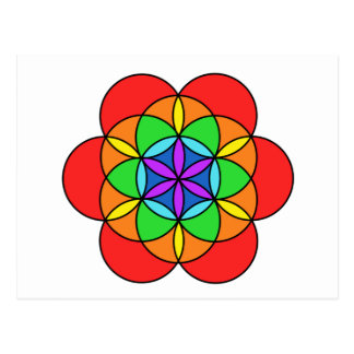 Seven Chakra Flower of Life Post Cards