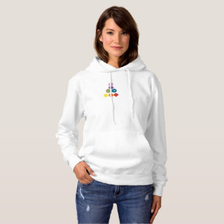 Seven Chakra Yoga Lady  Hooded Sweatshirt, White Hoodie