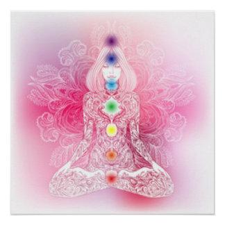 Seven Chakras Pink Lady Poster