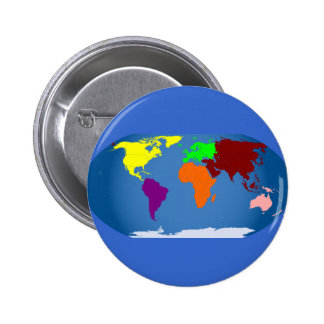 Seven Continents Colored 6 Cm Round Badge