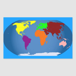 Seven Continents Colored Rectangular Stickers