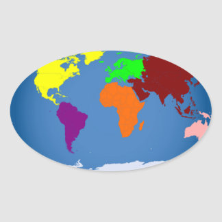 Seven Continents Colored Stickers
