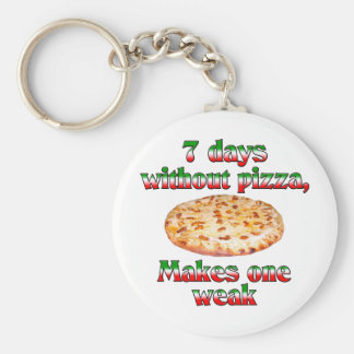 Seven Days Without Pizza Basic Round Button Key Ring