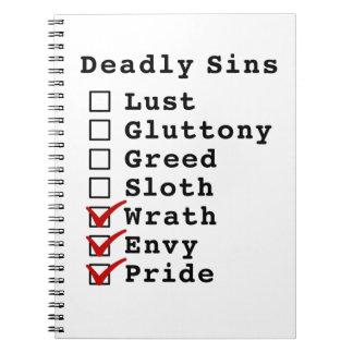 Seven Deadly Sins Checklist 0000111 Spiral Note Books