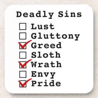 Seven Deadly Sins Checklist (0010101) Drink Coaster