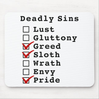 Seven Deadly Sins Checklist (0011001) Mouse Pad