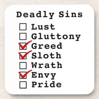 Seven Deadly Sins Checklist (0011010) Beverage Coaster