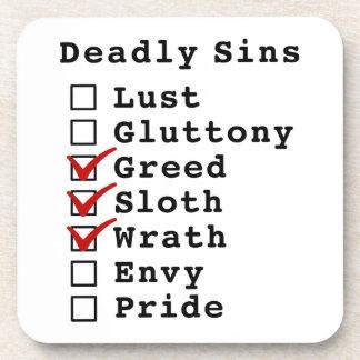 Seven Deadly Sins Checklist (0011100) Beverage Coasters