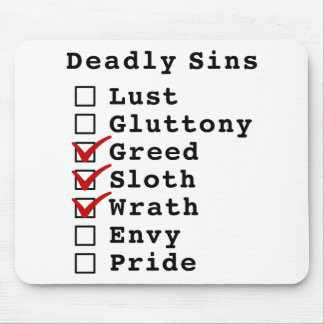 Seven Deadly Sins Checklist (0011100) Mouse Pad