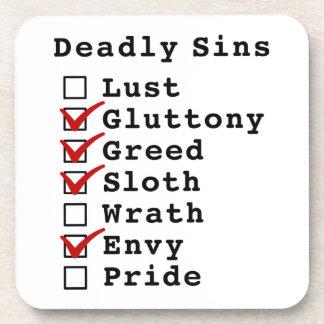Seven Deadly Sins Checklist (0111010) Beverage Coaster