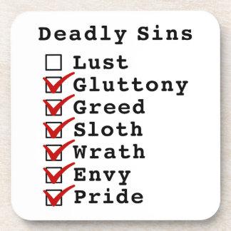 Seven Deadly Sins Checklist (0111111) Coaster