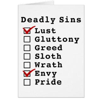 Seven Deadly Sins Checklist 1000010 Greeting Card