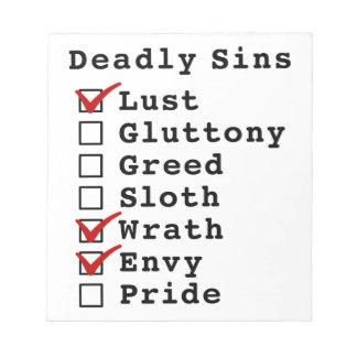 Seven Deadly Sins Checklist 1000110 Scratch Pad
