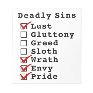 Seven Deadly Sins Checklist 1000111 Notepads