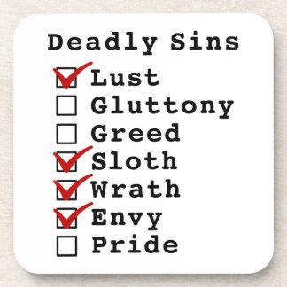 Seven Deadly Sins Checklist (1001110) Drink Coasters