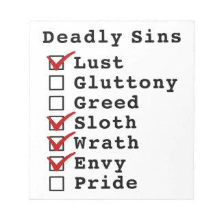 Seven Deadly Sins Checklist 1001110 Notepads