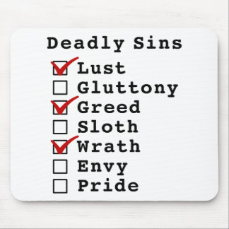 Seven Deadly Sins Checklist (1010100) Mouse Pads
