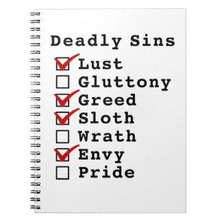 Seven Deadly Sins Checklist 1011010 Spiral Notebooks