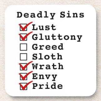 Seven Deadly Sins Checklist (1100111) Drink Coaster