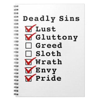 Seven Deadly Sins Checklist 1100111 Note Book