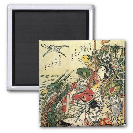 Seven Gods of Good Fortune Hokusai Fine Art Square Magnet
