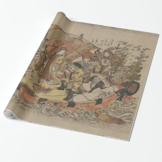 Seven Gods Of Good Fortune In The Treasure Boat Wrapping Paper