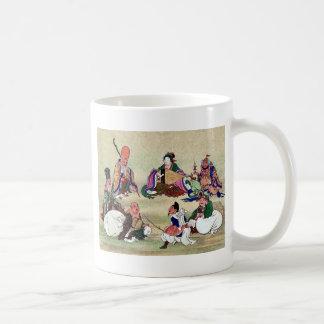 Seven gods of good luck Ukiyoe Basic White Mug