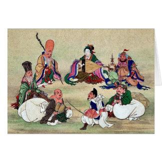 Seven gods of good luck Ukiyoe Greeting Card