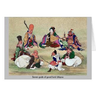 Seven gods of good luck Ukiyoe Greeting Cards