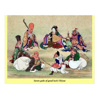 Seven gods of good luck Ukiyoe Post Card