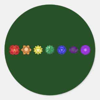 Seven Horizontal Chakras Classic Round Sticker